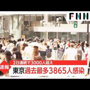 新型コロナ 東京都で新たに3865人の感染確認 過去最多