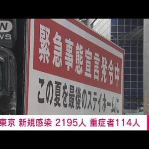 東京で新たに2195人感染 重症114人 新型コロナ(2021年8月2日)