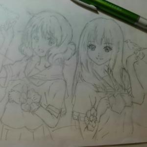 ラクガキの楽しみ (その20) 「リズ青」特典の久美子と麗奈 を模写する ACT2
