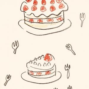 ケーキの上