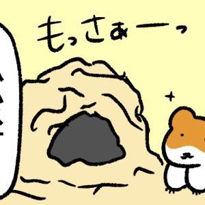 4コマ漫画「ケージのそうじ」
