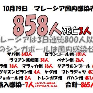 マレーシアは3日連続800人以上(-_-;)