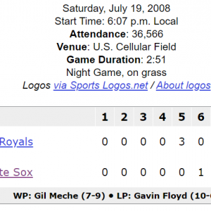 White Sox 1 - Royals 9 (2008/7/19)