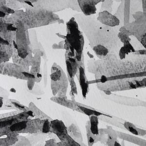 細い橋の真ん中で絵を描いている
