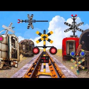 【踏切アニメ】電車放置エリアの変なふみきりカンカン♪\電車の墓場/Graveyard of Trains! Imaginary railroad crossings and trains!