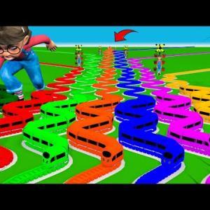 【踏切アニメ】新幹線はカラフルで曲がりくねったでこぼこの道を走っています #1【カンカン】 踏切アニメ Nick Love Tani Railroad Crossing Animation