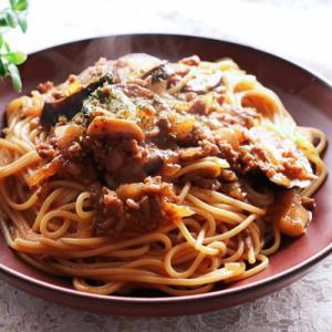 ナスとキノコのミートソーススパゲティレシピ