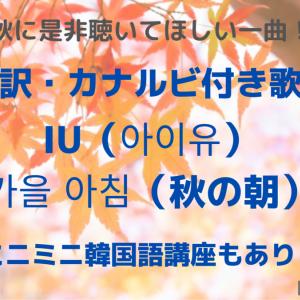 【和訳・カナルビ付き歌詞】  IU(아이유)「가을 아침(秋の朝)」~ミニミニ韓国語講座もあり!~