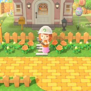 【あつ森】オレンジ色のレンガ道つくった!【マイデザイン】