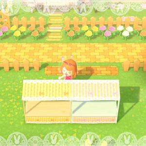 【あつ森】屋台用オレンジとピンクのレースリボン【マイデザイン】