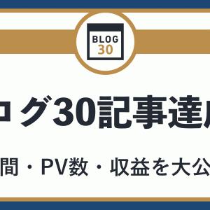 ブログで30記事達成!リアルな期間・PV数・収益を大公開!