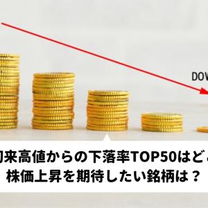 年初来高値からの下落率TOP50はどこ?株価上昇を期待したい銘柄は?