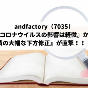 andfactory(7035)『新型コロナウイルスの影響は軽微』から一転『業績の大幅な下方修正』が直撃!!(泣)
