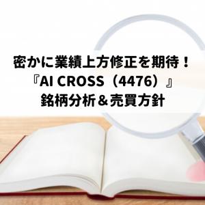 密かに業績上方修正を期待!『AI CROSS(4476)』銘柄分析&売買方針