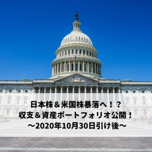 日本株&米国株暴落へ!?収支&資産ポートフォリオ公開! ~2020年10月30日引け後~
