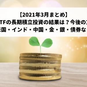 【2021年3月まとめ】米国ETFの長期積立投資の結果は?今後の方針!(米国・インド・中国・金・銀・債券など)