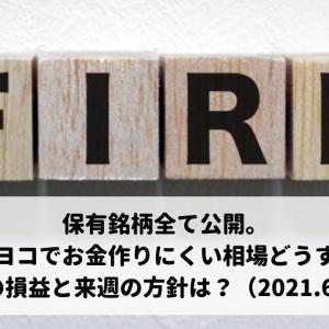保有銘柄全て公開。ヨコヨコでお金作りにくい相場どうする?今週の損益と来週の方針は?(2021.6.11)