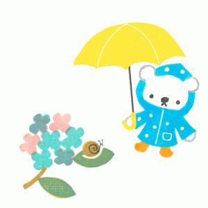 白くまママ-雨の日のイラスト