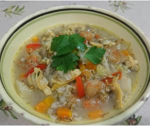 シーフードスープリゾット(ビューティーこんにゃく米)~食物繊維(プレバイオティクス)~