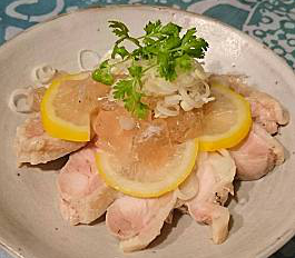 ❥白切鶏(パイセイチー)中華風レモンたれ~秋の七草~