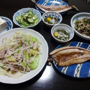 【糖質制限メニュー】冷蔵庫の残り物で野菜炒めとサンマの干物の献立