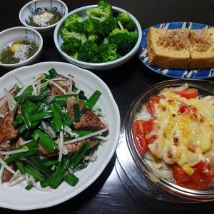 【糖質制限メニュー】夕飯のレバニラの献立サバ缶とトマトのチーズ焼き