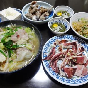 【糖質制限メニュー】豚肉でモツ鍋風と白滝の炒め物の節約献立