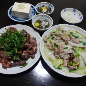 【糖質制限メニュー】サイリウム入りの野菜炒めとマグロのアラの献立