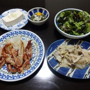 【糖質制限メニュー】鶏セセリの塩麹焼きと鱈の酒蒸しの献立