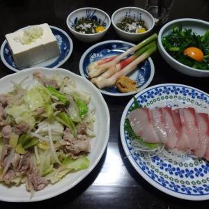 【糖質制限メニュー】肉野菜炒めとブリの刺身の糖質オフの献立