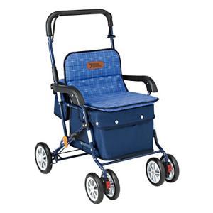椅子にもなる荷物入れ付き「アルミ製シルバーカー」