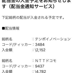 『テンポイノベーション、NTTドコモ、オリックス』配当金入金予定のお知らせ到着