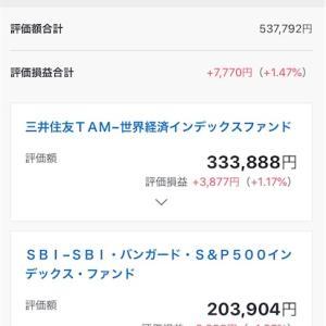 【元本59万千円】10月末SBI証券の投資信託