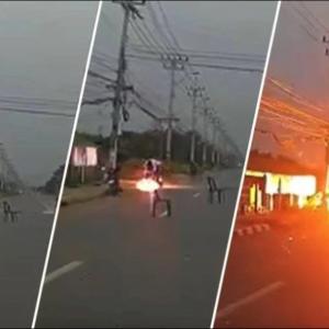 :注意情報  危険 垂れ下がった電線に触れた走行中の2人乗りバイクが感電し炎に包まれる