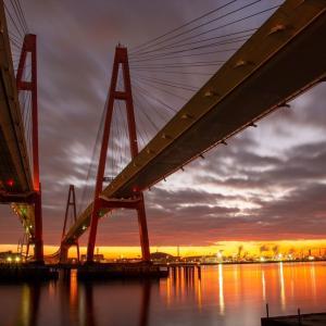 朝焼けのツインブリッジ@名港西大橋
