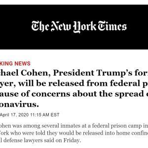 Micheal Cohen が New York の留置場から出される!❓ それってあり?