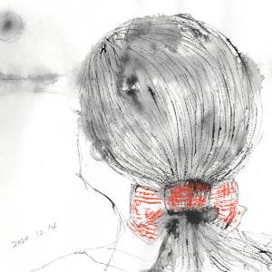 北風と赤い髪飾り