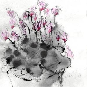 春の香とシクラメン