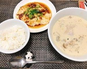 リュウジさんの豆腐ステーキと豆乳キノコシチュー