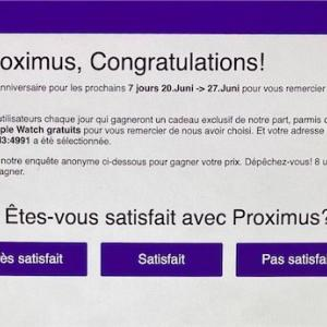 【詐欺です】Proximusのポップアップ