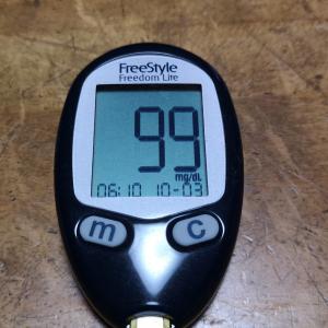 今朝の血糖値とコロナ太り