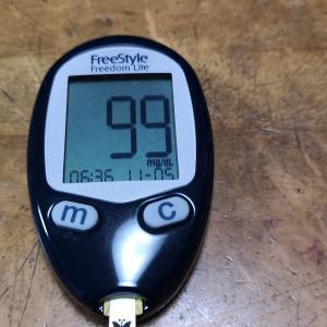 今朝の血糖値と朝食