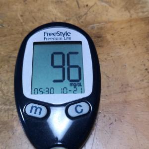 10月21日(木)今朝の血糖値と昨日の夕食