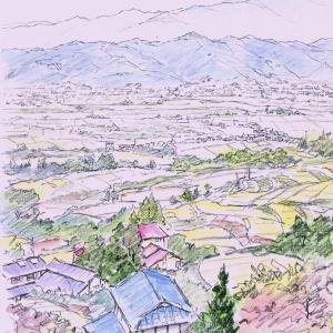 鉛筆淡彩スケッチ:JR篠ノ井線:姨捨駅から「姨捨の棚田と千曲川と南アルプス」の見える風景、F3、by 旅びっとん