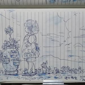 散歩スケッチ(^^)お題「花咲く国に飛行機雲」、by 旅びっとん