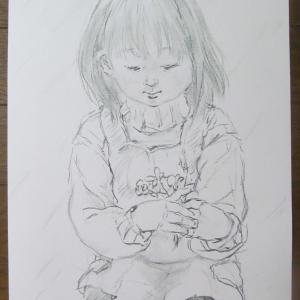 人物画木炭素描(^^)「花摘み」、by 旅びっとん