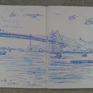 旅のメモ書き画「下関・関門海峡・朝の風景」^^by 旅びっとん