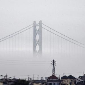 霧に浮かぶ海峡大橋