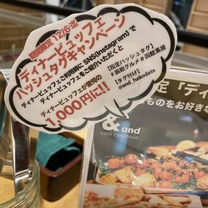 蔦屋書店のレストラン カフェ/トラットリア 「&」で12/6までビュッフェが千円です