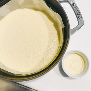 [ストウブでかんたんスイーツ]チーズケーキ(withポリ袋で作るクッキー生地)レシピ